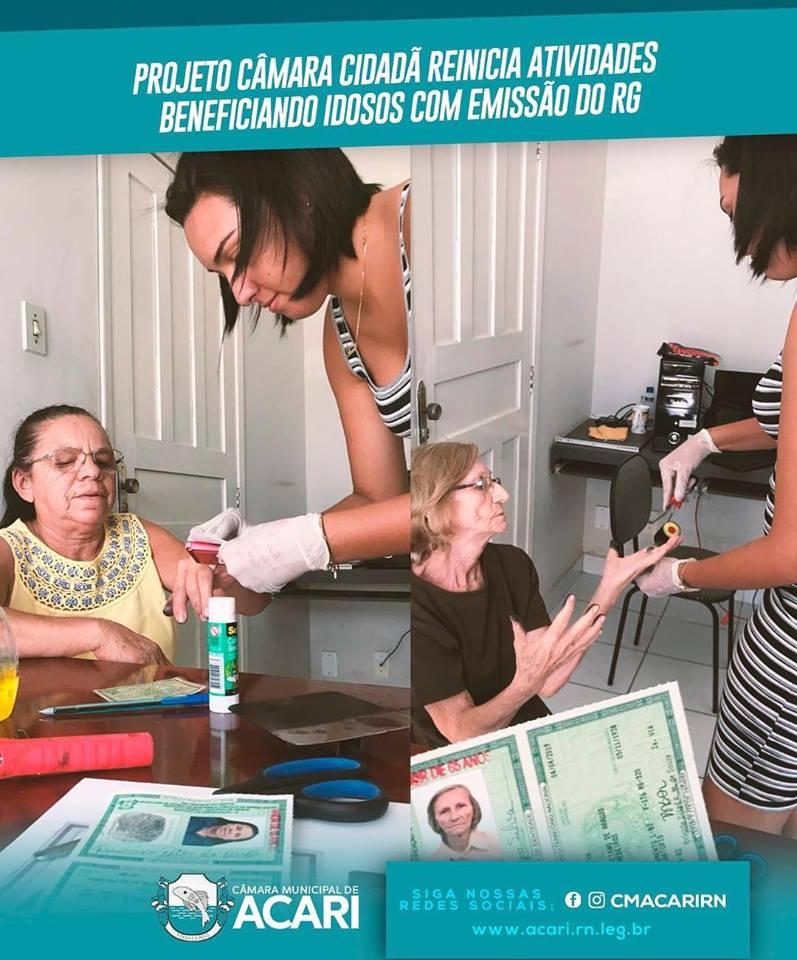 PROJETO CÂMARA CIDADÃ REINICIA ATIVIDADES BENEFICIANDO IDOSOS COM EMISSÃO DO RG