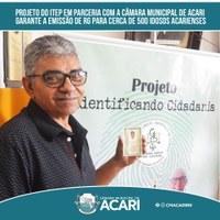 PROJETO DO ITEP EM PARCERIA COM A CÂMARA MUNICIPAL DE ACARI GARANTE A EMISSÃO DE RG PARA CERCA DE 500 IDOSOS ACARIENSES