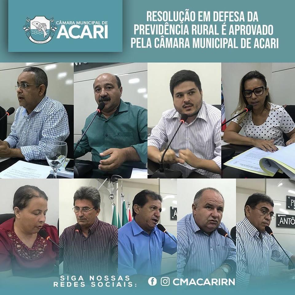 RESOLUÇÃO EM DEFESA DA PREVIDÊNCIA RURAL É APROVADO PELA CÂMARA MUNICIPAL DE ACARI