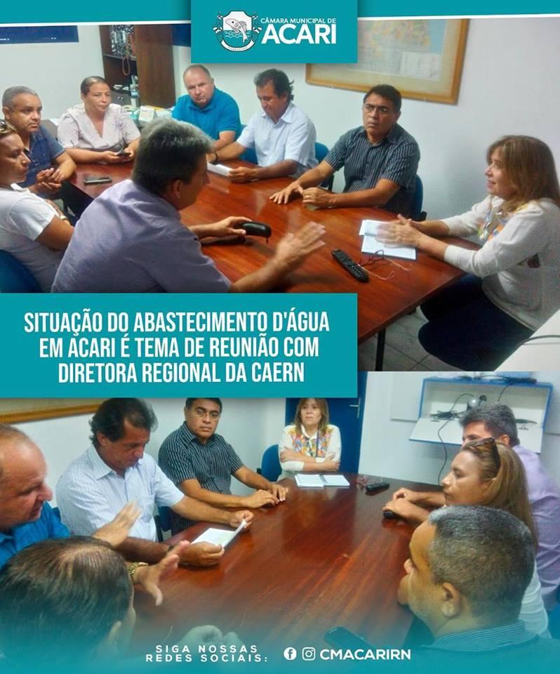 SITUAÇÃO DO ABASTECIMENTO D'ÁGUA EM ACARI É TEMA DE REUNIÃO COM DIRETORA REGIONAL DA CAERN