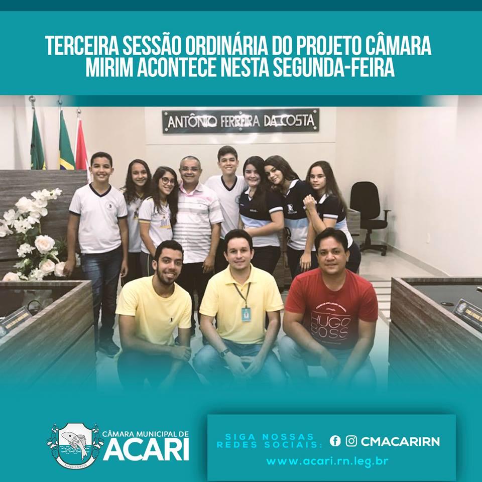 TERCEIRA SESSÃO ORDINÁRIA DO PROJETO CÂMARA MIRIM ACONTECE NESTA SEGUNDA-FEIRA