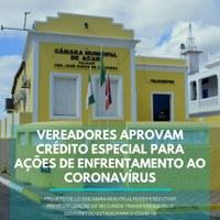 VEREADORES APROVAM CRÉDITO ESPECIAL PARA ACÕES DE ENFRENTAMENTO AO CORONAVÍRUS
