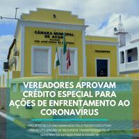 VEREADORES APROVAM CRÉDITO ESPECIAL PARA AÇÕES DE ENFRENTAMENTO DO CORONAVÍRUS
