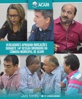 VEREADORES APROVAM INDICAÇÕES DURANTE 14ª SESSÃO ORDINÁRIA DA CÂMARA MUNICIPAL DE ACARI.