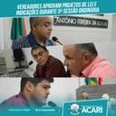 VEREADORES APROVAM PROJETOS DE LEI E INDICAÇÕES DURANTE 5ª SESSÃO ORDINÁRIA