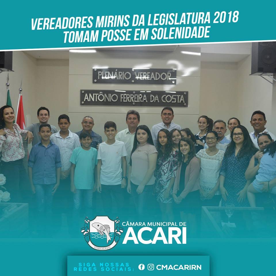 VEREADORES MIRINS DA LEGISLATURA 2018 TOMAM POSSE EM SOLENIDADE