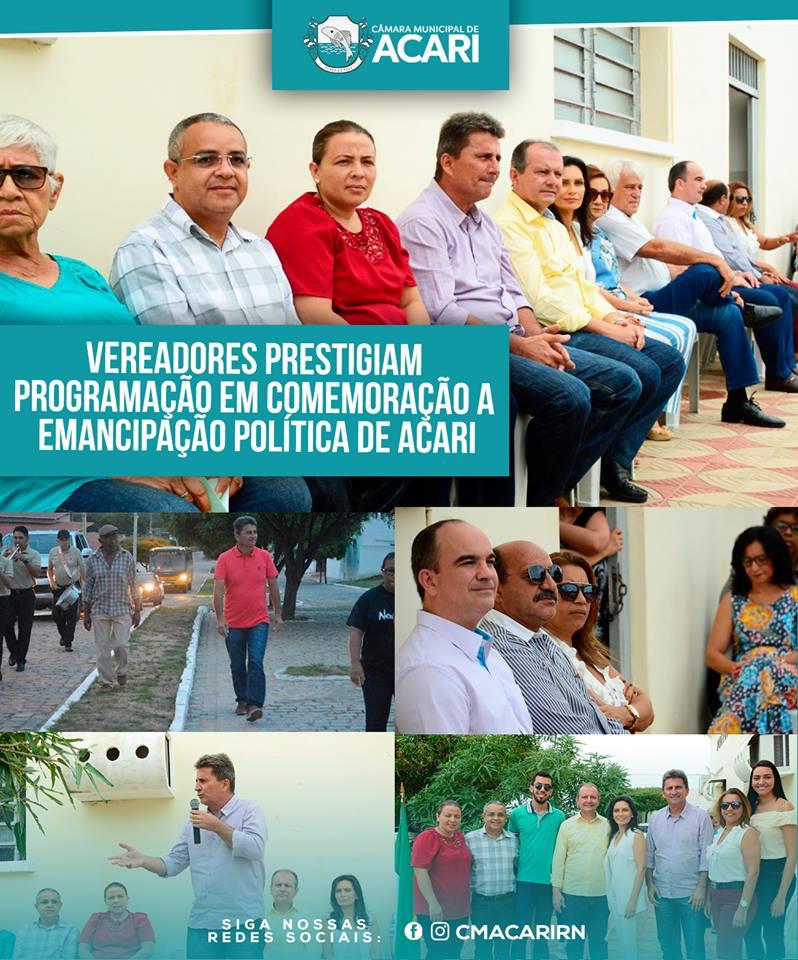 VEREADORES PRESTIGIAM PROGRAMAÇÃO EM COMEMORAÇÃO A EMANCIPAÇÃO POLÍTICA DE ACARI