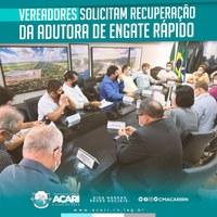 VEREADORES SOLICITAM RECUPERAÇÃO DA ADUTORA DE ENGATE RÁPIDO
