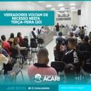 VEREADORES VOLTAM DE RECESSO NESTA TERÇA-FEIRA (20)